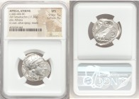 ATTICA. Athens. Ca. 440-404 BC. AR tetradrachm (24mm, 17.20 gm, 6h). NGC MS 5/5 - 4/5. Mid-mass coinage issue. Head of Athena right, wearing crested A...