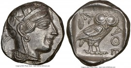 ATTICA. Athens. Ca. 440-404 BC. AR tetradrachm (24mm, 17.19 gm, 8h). NGC Choice AU 5/5 - 4/5. Mid-mass coinage issue. Head of Athena right, wearing cr...