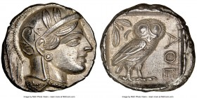 ATTICA. Athens. Ca. 440-404 BC. AR tetradrachm (25mm, 17.17 gm, 1h). NGC Choice AU 5/5 - 4/5. Mid-mass coinage issue. Head of Athena right, wearing cr...