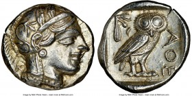 ATTICA. Athens. Ca. 440-404 BC. AR tetradrachm (24mm, 17.20 gm, 1h). NGC Choice AU 5/5 - 4/5. Mid-mass coinage issue. Head of Athena right, wearing cr...