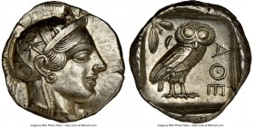 ATTICA. Athens. Ca. 440-404 BC. AR tetradrachm (25mm, 17.19 gm, 7h). NGC Choice AU 5/5 - 4/5, brushed. Mid-mass coinage issue. Head of Athena right, w...