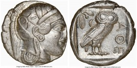 ATTICA. Athens. Ca. 440-404 BC. AR tetradrachm (25mm, 17.19 gm, 1h). NGC Choice AU 3/5 - 5/5. Mid-mass coinage issue. Head of Athena right, wearing cr...
