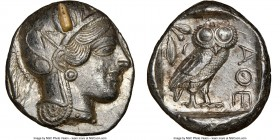 ATTICA. Athens. Ca. 440-404 BC. AR tetradrachm (25mm, 17.21 gm, 7h). NGC Choice AU 5/5 - 2/5, test cut. Mid-mass coinage issue. Head of Athena right, ...