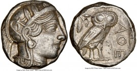 ATTICA. Athens. Ca. 440-404 BC. AR tetradrachm (24mm, 17.13 gm, 8h). NGC AU 5/5 - 3/5. Mid-mass coinage issue. Head of Athena right, wearing crested A...