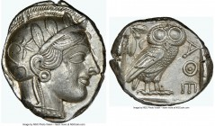 ATTICA. Athens. Ca. 440-404 BC. AR tetradrachm (25mm, 17.21 gm, 2h). NGC AU 4/5 - 4/5. Mid-mass coinage issue. Head of Athena right, wearing crested A...