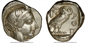 ATTICA. Athens. Ca. 440-404 BC. AR tetradrachm (25mm, 17.21 gm, 4h). NGC AU 4/5 - 4/5, brushed. Mid-mass coinage issue. Head of Athena right, wearing ...