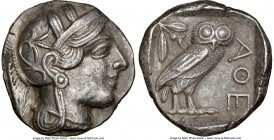 ATTICA. Athens. Ca. 440-404 BC. AR tetradrachm (25mm, 17.04 gm, 7h). NGC AU 5/5 - 2/5. Mid-mass coinage issue. Head of Athena right, wearing crested A...