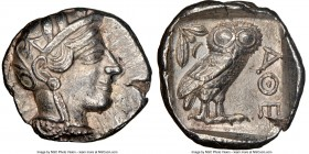 ATTICA. Athens. Ca. 440-404 BC. AR tetradrachm (25mm, 17.17 gm, 6h). NGC Choice XF 5/5 - 4/5. Mid-mass coinage issue. Head of Athena right, wearing cr...