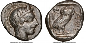ATTICA. Athens. Ca. 440-404 BC. AR tetradrachm (25mm, 17.18 gm, 1h). NGC Choice XF 5/5 - 4/5. Mid-mass coinage issue. Head of Athena right, wearing cr...