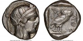 ATTICA. Athens. Ca. 440-404 BC. AR tetradrachm (25mm, 17.14 gm, 12h). NGC Choice XF 4/5 - 4/5. Mid-mass coinage issue. Head of Athena right, wearing c...