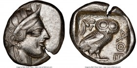 ATTICA. Athens. Ca. 440-404 BC. AR tetradrachm (25mm, 17.15 gm, 6h). NGC Choice XF 4/5 - 4/5. Mid-mass coinage issue. Head of Athena right, wearing cr...