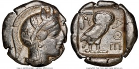 ATTICA. Athens. Ca. 440-404 BC. AR tetradrachm (24mm, 17.03 gm, 8h). NGC Choice VF 3/5 - 3/5. Mid-mass coinage issue. Head of Athena right, wearing cr...