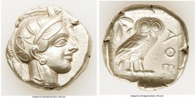 ATTICA. Athens. Ca. 440-404 BC. AR tetradrachm (25mm, 17.18 gm, 8h). XF. Mid-mass coinage issue. Head of Athena right, wearing crested Attic helmet or...