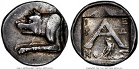 ARGOLIS. Argos. Ca. after 125 BC. AR triobol or hemidrachm (16mm, 11h). NGC Choice VF. Hieron, magistrate, ca. 90-40 BC. Forepart of wolf at bay left ...