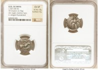 ELIS. Olympia. Ca. 250-200 BC. AR drachm (19mm, 4.70 gm, 5h). NGC Choice VF 4/5 - 5/5. Eagle flying right, clutching hare in talons / F-A, winged thun...