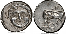 MYSIA. Parium. Ca. 4th century BC. AR hemidrachm (15mm, 5h). NGC AU. Head of Gorgoneion facing, tongue protruding below upper row of teeth, coiled sna...