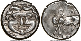 MYSIA. Parium. Ca. 4th century BC. AR hemidrachm (13mm, 1h). NGC Choice XF. Facing Gorgoneion, tongue protruding below upper row of teeth, coiled snak...