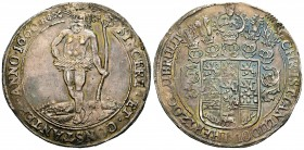 Germany. Braunschweig-Lüneburg. Christian Ludwig. 1 thaler. 1660. (Dav-6518). Ag. 28,51 g. Iridescent tone. Repaired welding at 12 o´clock. XF. Est......