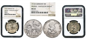 Germany. Prussia. 3 mark. 1913. Berlin. (Km-34). Ag. Slabbed by NGC as MS 63. NGC-MS. Est...100,00. 