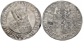 Germany. Sachsen. August I. 1 thaler. (1555). Annaberg. (Dav-9791). (Km-157). Ag. 26,86 g. Knock on edge. Choice VF. Est...400,00. 