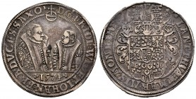 Germany. Sachsen. Friedrich Wilhelm and Johann. 1 thaler. 1574. Saalfeld. (Dav-9766). Ag. 29,14 g. Tone. Choice VF. Est...450,00. 