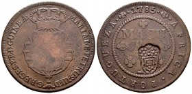 Angola. D. Maria I y D. Pedro III. 1 macuta. 1785. (Gomes-05.06). Ae. 34,32 g. Countermark in accordance with the royal decree of 1837 over 1 macuta. ...