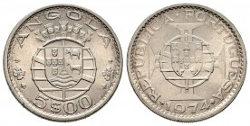 Angola. 5 escudos. 1974. (Km-81). 6,89 g. Very scarce. UNC. Est...400,00. 