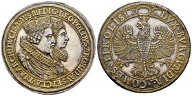 Austria. Leopold V. Double thaler. 1822. Hall. (Km-3805). (Dav-3331). Anv.: Conjoined, crowned, and collared busts of Archduke Leopold V and Claudia d...