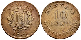 Belgium. Napoleon Bonaparte. 10 cents. 1814. Anvers. R. (Gad-191e). Ae. 25,78 g. Almost VF. Est...120,00. 