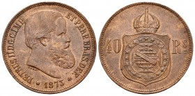Brazil. D. Pedro II. 40 reis. 1873. (Km-479). Ae. 11,67 g. Choice VF. Est...25,00. 