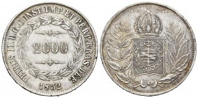 Brazil. 2000 reis. 1852. (Km-462). Ag. 25,26 g. Minor nick on edge. XF. Est...40,00. 
