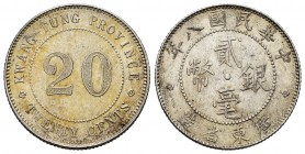 China. 20 cents. 1919. Kwangtung. (Km-Y423). Ag. 5,43 g. Almost UNC. Est...25,00. 