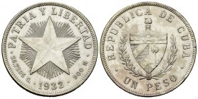 Cuba. 1 peso. 1932. (Km-15.2). Ag. 26,65 g. Cleaned. Choice VF. Est...35,00. 