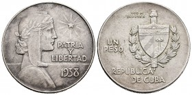 Cuba. 1 peso. 1938. (Km-22). Ag. 26,65 g. Minor nick. Almost XF. Est...60,00. 
