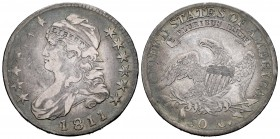 United States. Half dollar. 1811. Philadelphia. (Km-37). Ag. 13,19 g. Capped Bust. Choice F/Almost VF. Est...200,00. 