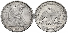 United States. Half dollar. 1854. Philadelphia. (Km-82). Ag. 12,37 g. Seated Liberty, with Arrows. VF/Choice VF. Est...150,00. 