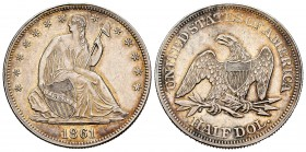 United States. Half dollar. 1861. Philadelphia. (Km-A68). Ag. 12,43 g. Seated Liberty. Some original luster. AU. Est...220,00. 