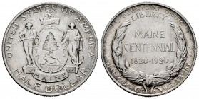United States. Half dollar. 1920. (Km-146). Ag. 12,48 g. Maine Centenional. It retains some luster. Very scarce. AU. Est...120,00. 