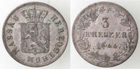 Monete Estere. Germania. Nassau. 1839-1866. 3 Kreutzer 1844. Mi. Km 61. Peso gr. 1,19. Diametro mm. 17. BB. R.