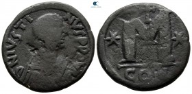 Justin I AD 518-527. From the Tareq Hani collection. Constantinople. Follis Æ