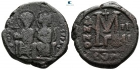 Justin II and Sophia AD 565-578. From the Tareq Hani collection. Constantinople. Follis or 40 Nummi Æ