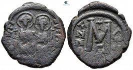 Justin II and Sophia AD 565-578. From the Tareq Hani collection. Uncertain mint. Follis or 40 Nummi Æ