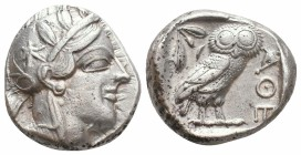 ATTICA. Athens. Circa 454-404 BC.AR Tetradrachm  Obverse : Helmeted head of Athena right Reverse : AΘE; owl standing right, head facing; olive sprig a...