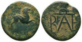 KINGS OF BOSPOROS. Polemo I (Circa 37-8 BC). Ae. Pantikapaion. Obv: Winged head of Medusa right. Rev: Monogram of Polemo. MacDonald 229; HGC 7, 347. V...