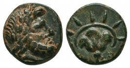 Islands off Caria, Rhodos. Rhodes. 350-300 B.C. AE  Condition: Very Fine  Weight: 2,1 gram Diameter: 12,5