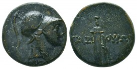 PONTOS. Gaziura. Circa 100-85 BC. AE Helmeted head of Ares (?) to right. Rev. ΓAZI-OYPΩN Sword in sheath. HGC 7, 266. SNG BM Black Sea 1268-1269. Rare...