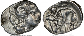 CALABRIA. Tarentum. Ca. 380-280 BC. AR diobol (13mm, 7h). NGC VF. Ca. 325-280 BC. Head of Athena right, wearing crested Attic helmet decorated with fi...