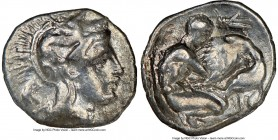 CALABRIA. Tarentum. Ca. 380-280 BC. AR diobol (12mm, 12h). NGC VF. Ca. 325-280 BC. Head of Athena right, wearing crested Attic helmet decorated with f...