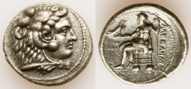 MACEDONIAN KINGDOM. Alexander III the Great (336-323 BC). AR tetradrachm (28mm, 16.64 gm, 12h). Choice VF, porosity. Early posthumous issue of Tyre, d...
