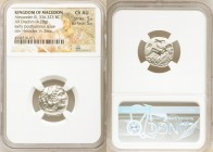 MACEDONIAN KINGDOM. Alexander III the Great (336-323 BC). AR drachm (16mm, 4.28 gm, 8h). NGC Choice AU 5/5 - 5/5. Early posthumous issue of Abydus, ca...
